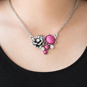 Silver Rose Necklace With Pink Crackle Stone